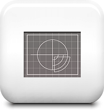 Icon of pie chart on a graph on a shiny white tile