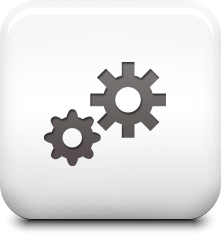 Icon of 2 gears on a shiny white tile