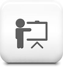 Icon of a presenter motioning to a screen on a shiny white tile